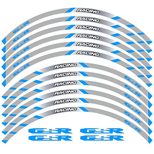 Qwjdsb para Suzuki GSR, Pegatina de Rueda, calcomanías de llanta Reflectantes a Rayas, 12 Piezas, Nueva Motocicleta de Ajuste