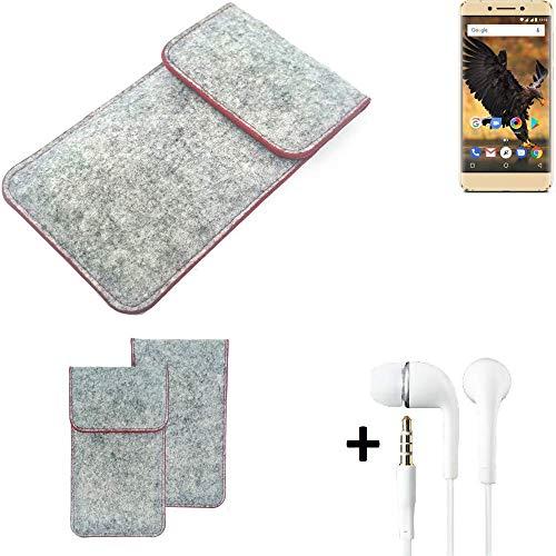 K-S-Trade® Handy Schutz Hülle Für Allview P8 Pro Schutzhülle Handyhülle Filztasche Pouch Tasche Hülle Sleeve Filzhülle Hellgrau Roter Rand + Kopfhörer