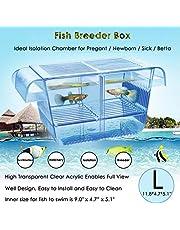 capetsma Fish Breeding Box, Acrylic Fish Isolation Box with Suction Cups, Aquarium Acclimation Hatchery Incubator for Baby Fishes Shrimp Clownfish and Guppy. L