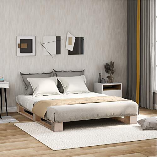 Nyyi Palettenbett Massivholzbett Bett aus Paletten mit 9 Leisten, Bettgestell mit Lattenrost, belastbar bis 180 kg je Element, Holzbett 90 x 200 cm