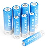 REACELL 8 Sets AA AAA Rechargeable Batteries Combo, 4 Pack AA 2800mA & 4 Pack AAA 1100mAh 1.2V NiMH Rechargeable Batteries with Cases