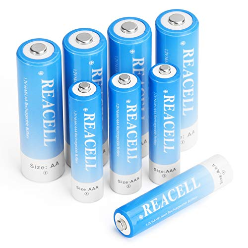 REACELL 8 Sets AA AAA Rechargeable Batteries Combo Pack  4 Pack AA 2800mAh amp 4 Pack AAA 1100mAh High Capacity NiMH Rechargeable Batteries Low Self Discharge