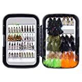 Bassdash Trout Steelhead Salmon Fishing Flies Assortment 40\/56\/57\/58pcs Include Dry Wet Flies Nymphs Streamers Eggs, Fly Lure Kit with Fly Box