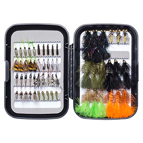 Bassdash Trout Steelhead Salmon Fishing Flies Assortment 40/56/57/58pcs Include Dry Wet Flies Nymphs Streamers Eggs, Fly Lure Kit with Fly Box