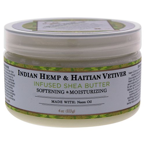 Nubian Heritage Indian Hemp and Haitian Vetiver Infused Shea Butter Softening and Moisturizing, 4 Ounces