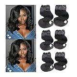 Topuhair 6 Tissages Naturel Body Wave Cheveux Humains 1B Color Cheveux Boucle Extensions De Cheveux Remy (8/8/8/8/8/8Pouces 300g,...