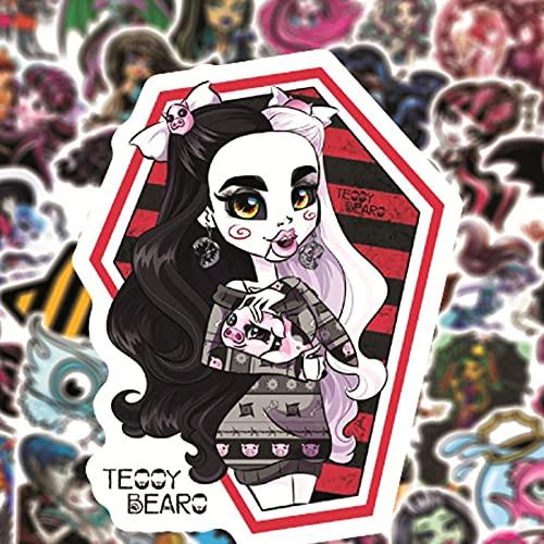 SHUYE Pegatinas de Monster High para el Estilo del Coche, Bicicleta, Motocicleta, teléfono, portátil, Equipaje de Viaje,calcomaníaDivertida Divertida de Parodia