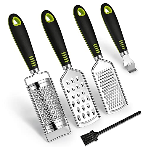 SUTINE Set of 5 Cheese Grater &Shredder,Lemon Zester, Multi-purpose Graters for Kitchen,Stainless Steel Handheld Food Grater Slicer for Vegetable, Fruit, Chocolate With Cleaning Brush