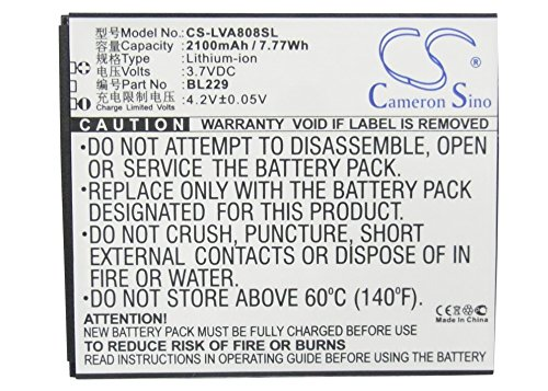 CS-LVA808SL Batería 2100mAh Compatible con [Lenovo] A8, A806, A808T sustituye BL229