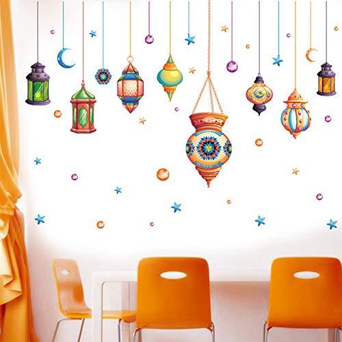 TAOYUE Kleurrijke Kroonluchter Slaapkamer Muurstickers Licht Lampje Home Decor voor Kinderen Kamer Art PVC Vinyl Muurstickers Creatieve Kamer Decoratie