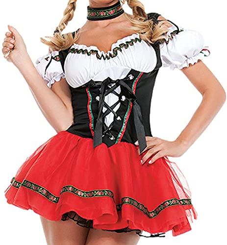 TSUSF Disfraz De Oktoberfest Alemn para Mujer,Uniforme De Sirvienta De Halloween,Disfraz De Fiesta,Disfraz De Actuacin,Disfraz De Sirvienta,Vestido De Sirvienta (Size : XL)