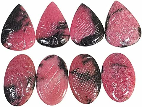 7 Pcs Natural Rhodonite 36mm-42mm Magnficent Hand Carved Untreat Ranking Max 75% OFF TOP18