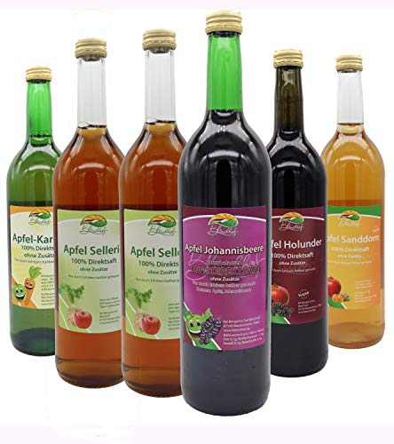 Bleichhof Detox Saftkur - Apfelsaft mit Karottensaft, Apfel-Johannisbeersaft, 2x Apfelsaft mit Selleriesaft, Apfel-Sanddornsaft, Apfel-Holundersaft (6x0,72L)