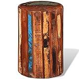 Taburete cilíndrico de madera maciza reciclada