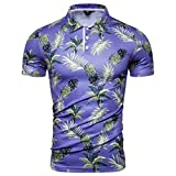 Men's Pineapple Printed Shirts Summer Henley Slim Fit Hawaii Short Sleeve Turn-Down Tops T-Shirt (2XL, Purple)