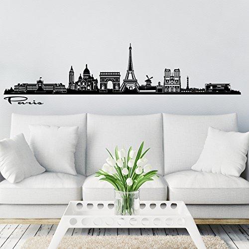 Wandkings Skyline - Deine Stadt wählbar - Paris - 125 x 26 cm - Wandaufkleber Wandsticker Wandtattoo