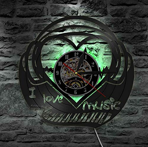 JHLP Reloj de Pared de Vinilo I Love Music Piano Keyboard Reloj de Pared Música Heartbeat Disco de Vinilo Reloj de Pared Sound Wave Música Canción Heartbeat Voice Retro Clock-with_LED