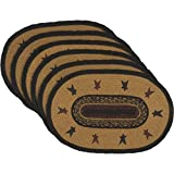 VHC Brands Primitive Tabletop Kitchen Settlement Star Jute Stenciled Oval Placemat Set of 6, Mustard Tan Yellow