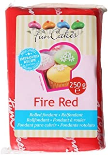 FunCakes Fondant para Cubrir Tartas, Cupcakes, Galletas o Modelar color Rojo Fuego: Sabor Vainilla, Flexible, Sin Gluten, Halal, Kosher D, Apto Véganos, 250g, FC97350
