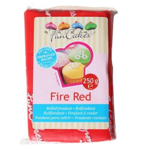 FunCakes Fondant Fire Red: łatwy w użyciu, gładki, elastyczny, miękki i delikatny, idealnie nadaje się do dekorowania tortów, halal, koszernych i bezglutenowych. 250 g