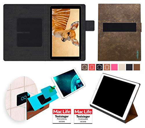 reboon Hülle für Blaupunkt Atlantis A10 Tasche Cover Case Bumper | in Braun Wildleder | Testsieger