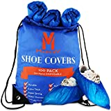 Shoe Covers Disposable Non Slip - 100 Pack 4g Thick Heavy Duty Booties For Shoes Covers For Indoors - Waterproof Shoe Booties Disposable Non Slip - Foot Booties Double Rubberband & Durable Boot Covers