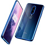 DTTO for Oneplus 7 Pro Case, Soft TPU Clear Stylish Cover All-Round Protection Anti-Falling Case with Metal Luster Edge for Oneplus 7 Pro,Navy Blue