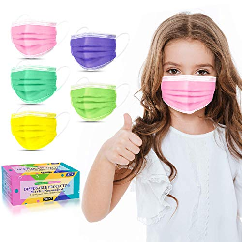 """XDX Kids Face Mask Disposable-50 Pack Colorful Mask for Boys and Girls-Soft on Skin, 3 Ply - 5.7"""" x 3.74"""" Children's Size - for Childcare, School, Daily Use"""