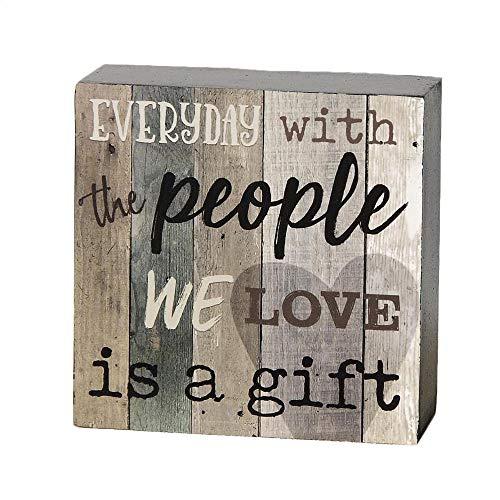 Blossom Bucket Everyday with People We Love Geschenk, natürliche Holzoptik, 10 x 10 cm, MDF, dekoratives Wandschild