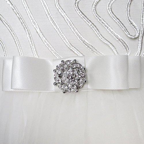Sunny Fashion KZ66 Flower Girls Dress Off White Belted Wedding Party Bridesmaid Size 10
