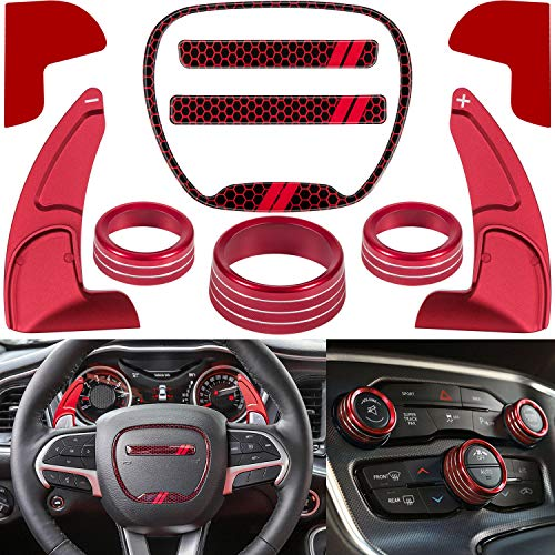 For Dodge Challenger Charger 2015-2021 Interior Accessories Decoration Steering Wheel Shift Paddle Extended+Emblem Kit+Air Conditioner Switch CD Button Knob Switch Ring Trim Cover (Red)