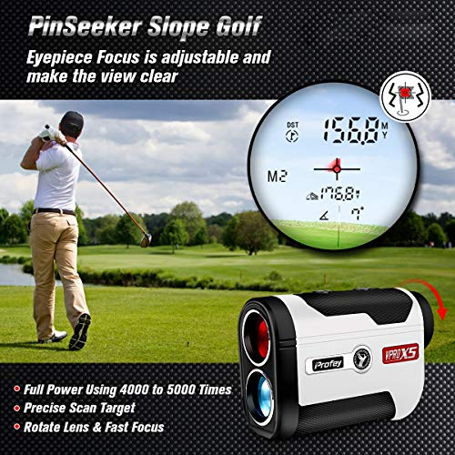 Profey Golf Rangefinder 6X Laser Range Finder 1500 Yards with Slope ON/Off Tech Angle Measurement Fast Flag-Lock Continuous Scan Linear & Vertical Distance Tournament Legal Slope Laser Rangefinder
