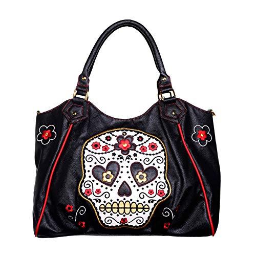 Banned Sugar Skull Handtasche Handtasche Umhängetasche Vintage Rockabilly Schultertasche Shopper Punk Gotik Handtasche Schwarz Tasche