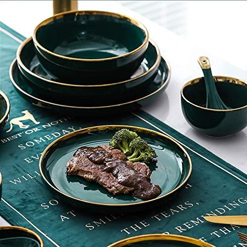 Platos Verde Cerámica Oro Inlay Placa Steak Placa de comida Estilo Vajilla Tazón Postre Plato Plato Plato Set Vajilla (Color : B.3.5 Inch plate)