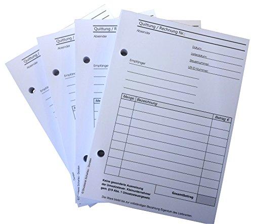 3x Block Rechnung / Quittung für Kleinunternehmer - 2 x 50 Blatt DIN A6 hoch - gelocht - SD -durchschreibend (22419)