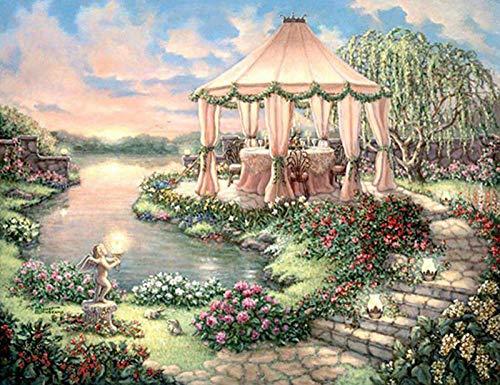 5D diamond painting DIY kit round diamond art-garden landscape painting 50x40cm crystal rhinestone diamond bordado, adecuado para la decoración de la pared del hogar