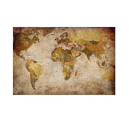レモンツリーART 世界地図 ポスター アンティーク風世界地図 アンティークマップ 壁飾り 絵画 写真 インテリアファブリック 印刷布製 おしゃれ インテリア ヴィンテージマップ ワールドマップ (60cm*40cm)