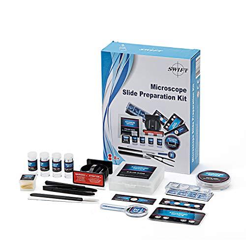 SWIFT Junior Experimentier-Set Mikroskop Zubehör Mit 12 wiederverwendbaren Objektträgern und 3X Mini-Lupe, Deckgläser,Vorbereiteten Proben und mehr