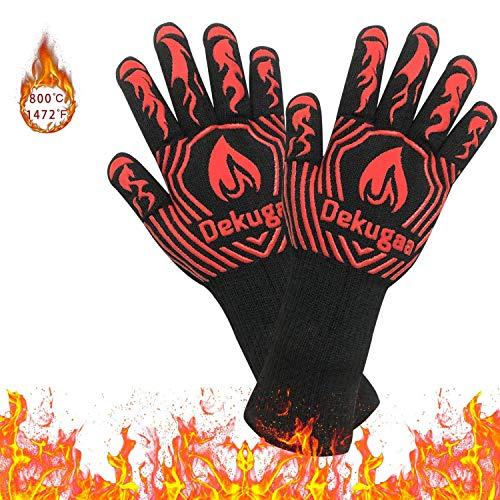 osolay Grillhandschuhe,BBQ Gloves,Ofenhandschuhe BBQ Kochenhandschuhe,Backhandschuhe Hitzefeste Handschuhe Kaminhandschuhe bis zu 800°C,Zum Grillen,Kochen,Schweißen,Feuerplatz (Schwarz)
