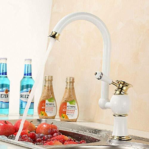 SPRINGHUA Mezclador del lavabo de la cocina del diseño y grifo frío latón Material blanco agua grifo