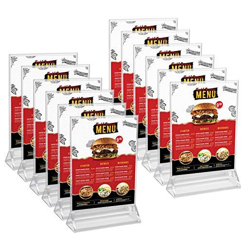 Kurtzy Expositor Metacrilato (12 Piezas) - Portacarteles A5 Dos Lados Transparentes de Sobremesa Vertical – Atril Metacrilato para Presentaciones, Poster, Fotos Base Plana para Restaurantes, Hoteles ✅