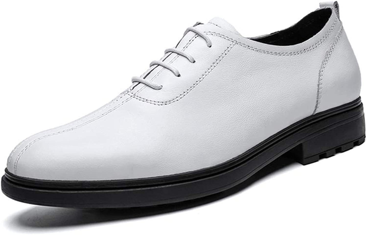 Easy Go Shopping Formal shoes For Men Lace Up Style Oxford shoes OX Leather Round Toe Classic Casual British Style Cricket shoes (color   White, Size   6 UK)