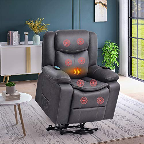 Power Lift Recliner Chair for Elderly with Massage & Heating Electric Recliner Chair Massage Sofa Microfiber Fabric Living Room Chair with Side Pockets and Remote Control