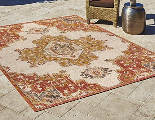 Gertmenian Bohemian Outdoor Rug Distressed Patio Outside Bohemian Carpet, 5x7 Standard, Nain Classic Center Medallion Orange Red