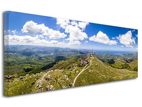 Declina - Cuadro paisaje moderno para decoración de pared, cuadro paisaje color brillante, cuadro de fotos panorámico La Rhune País Vasco, 80 x 30 cm