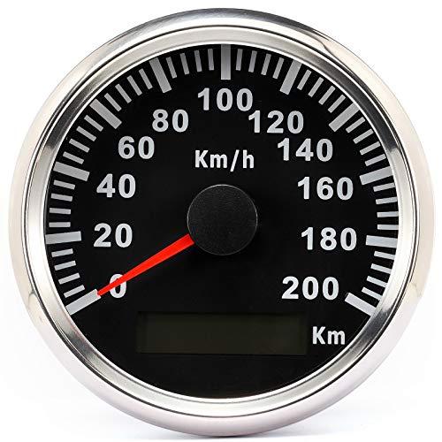 ELING Wasserdichter GPS Tacho Kilometerzähler 200KM/H für Auto Motorrad Buggy mit Hintergrundbeleuchtung 85mm 12V/24V