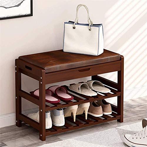 Zapato de madera sólido Cambio de taburete Rack Zapato de zapatos Multi-capa Zapato Cambio de taburete Cambio de zapatos Cambio de taburete Tres capas Marrón,73.5X30X45CM