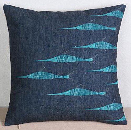 Ocean Marine Animals Tropical Fish Ornamental Fish Tuna Cotton Linen Square Throw Waist Pillow Case Decorative Cushion Cover Pillowcase Sofa 18'x 18'