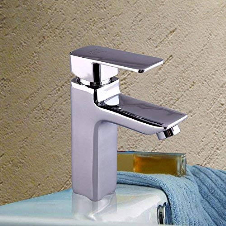 ZHAS Kupfer einzigen Handgriff Quadrat Waschbecken Wasserhahn Badezimmerschrank Wasserhahn Einlochmontage heien und kalten Mischbatterie