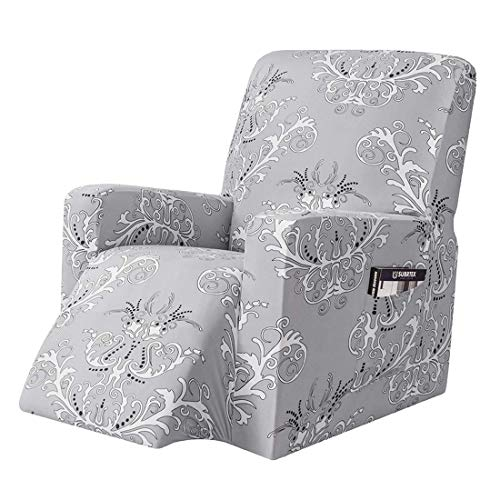 YUENA CARE Stretch Recliner Chair Cover with Side Pocket Exquisite Pattern Protector Cover for Armchairs Machine Washable Sofa Slipcover Grey